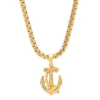 Steeltime Men's Stainless Steel Anchor and Chain Pendant