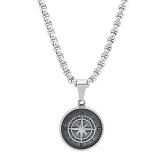 Steeltime Men's Stainless Steel Compass Pendant