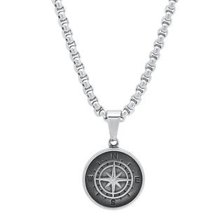 Steeltime Men's Stainless Steel Compass Pendant|https://ak1.ostkcdn.com/images/products/18591607/P24693062.jpg?impolicy=medium