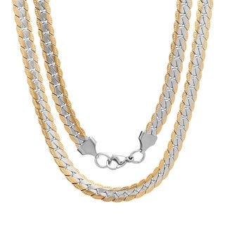 Steeltime Men's Stainless Steel Flat Curb Chain Necklace in 3 Colors