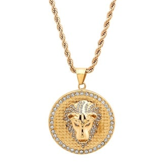 Steeltime Men's Gold Tone Stainless Steel Cubic Zirconia Lion Head Pendant in 2 Colors