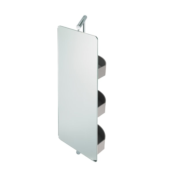 Waldorf Stainless Steel Swivel Mirror With Storage   N/A