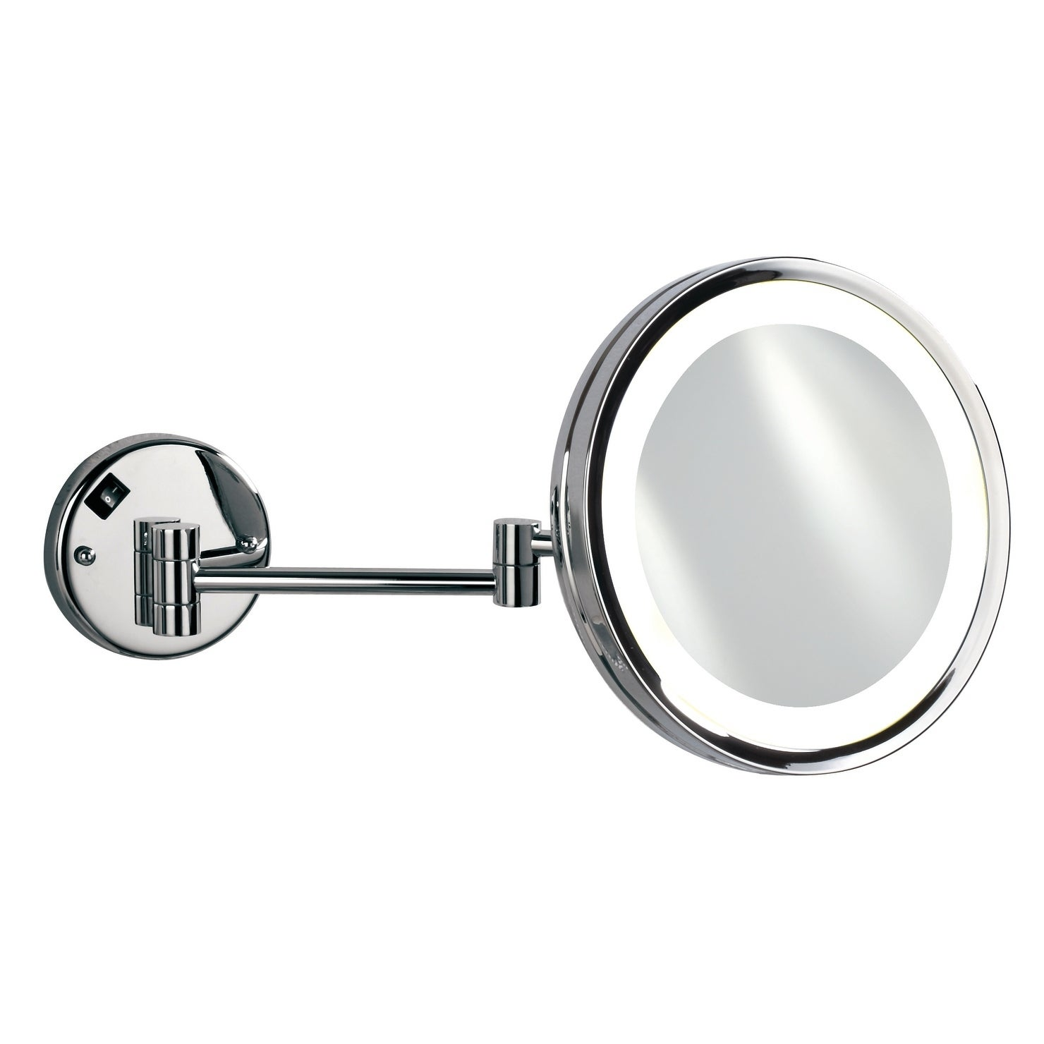 Picture of: Shop Black Friday Deals On Empire 5x Magnification Wall Mount 10 Lighted Makeup Mirror Polished Chrome Overstock 18591803