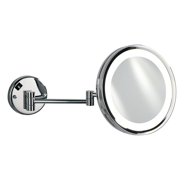 "Empire 5X Magnification Wall-Mount 10"" Lighted Makeup Mirror - Polished chrome"