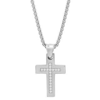 Steeltime Men's Stainless Steel Cubic Zirconia Cross Pendant