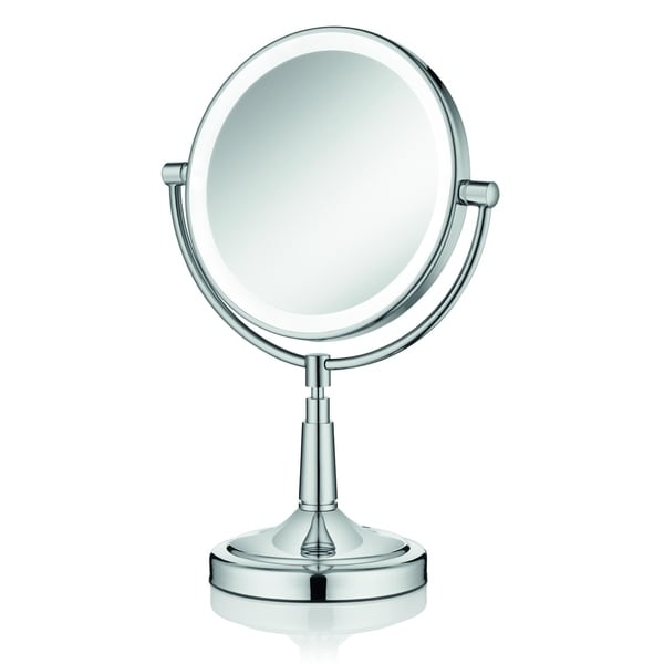 """Empire 1X/ 5X Magnification 8"""" Lighted Makeup Mirror - Polished chrome"""