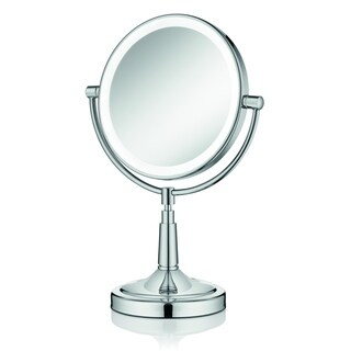 "Empire 1X/ 5X Magnification 8"" Lighted Makeup Mirror - Polished chrome"