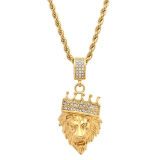 Steeltime Men's Gold Tone Stainless Steel Lion with Crown Cubic Zirconia Pendant