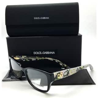 Dolce & Gabbana Black Eyeglasses Flowers Demo Lenses|https://ak1.ostkcdn.com/images/products/18592343/P24693137.jpg?impolicy=medium