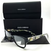 Dolce & Gabbana Black Eyeglasses Flowers Demo Lenses