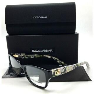 Dolce & Gabbana Black Eyeglasses Flowers Demo Lenses