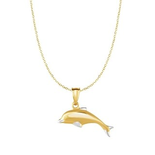 10K Two-tone Gold 18-inch Polished Jumping Dolphin Pendant Necklace (25mmx20mm)