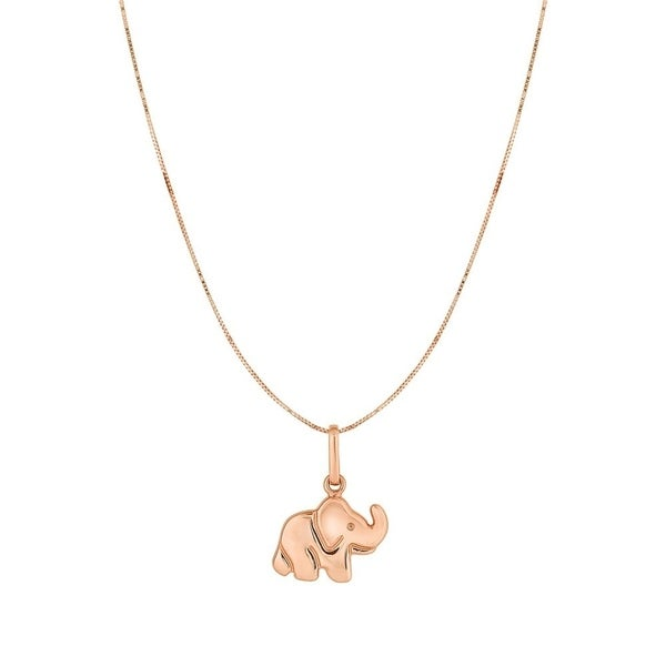 10k rose gold 18 inch polished pink small elephant pendant necklace 10k rose gold 18 inch polished pink small elephant pendant necklace 15mmx18mm aloadofball Gallery