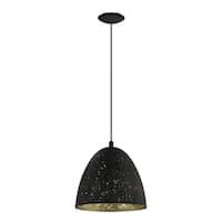 Eglo Lighting Safi Black Metal Pendant Light with Goldtone Interior