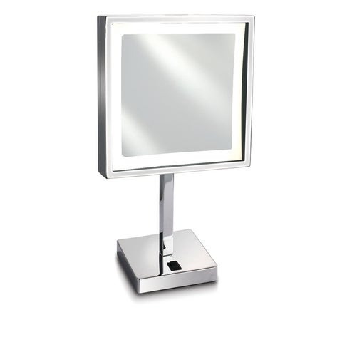 """Empire 5X Magnification 8"""" x 8"""" Lighted Makeup Mirror - Polished chrome"""