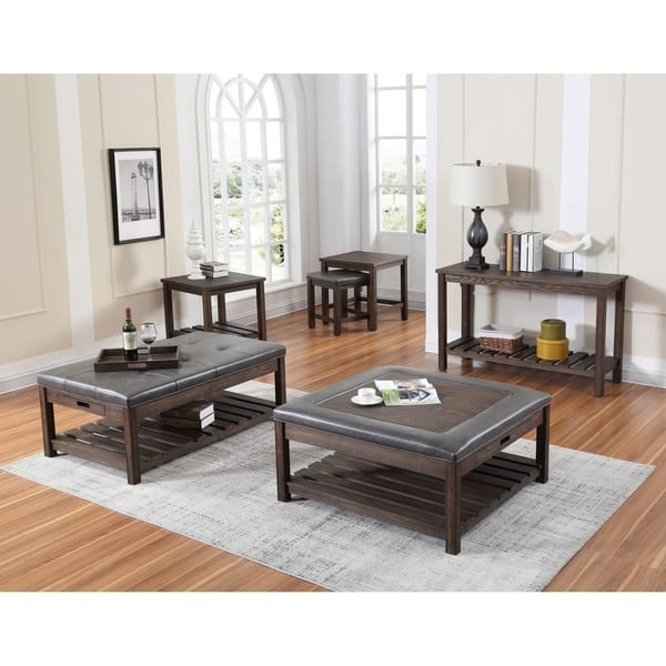 Incredible Wood Haven Dark Brown 50 Coffee Table With Faux Leather Tufted Top Pull Out Trays And Open Shelf Bralicious Painted Fabric Chair Ideas Braliciousco