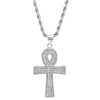 Steeltime Men's Stainless Steel Cubic Zirconia Egyptian Ankh Pendant on Rope Chain in 2 Colors (2 options available)