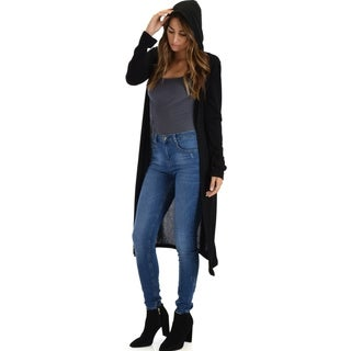 Lyss Loo Cover Me Up Long-line Hooded Cardigan Sweater