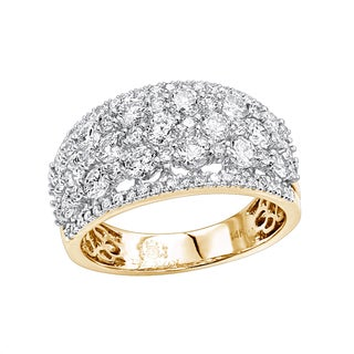 Luxurman 14K Gold Designer Diamond Wedding Band for Women 2 Carat