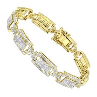 Luxurman 10K Gold Pave Diamond Bracelet for Men 2.75ct