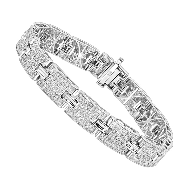 cd3d1069eddea Shop Luxurman Sterling Silver Bracelets: Mens Diamond Bracelet 3.5 ...