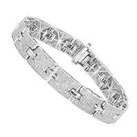 Luxurman Sterling Silver Bracelets: Mens Diamond Bracelet 3.5 ct