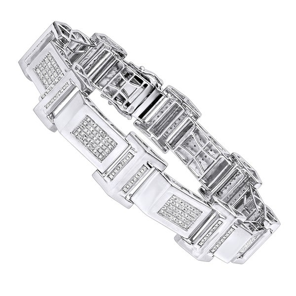058f7292d5453 Shop Luxurman Affordable Mens Diamond Bracelet in Sterling Silver ...