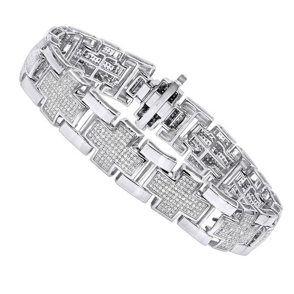 ea0d68835adcb Shop Luxurman Mens Diamond Bracelets 14K Gold Cross Bracelet 3ct ...