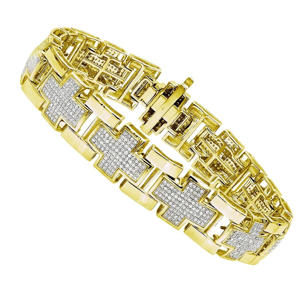 14k Gold Cross Bracelet 3ct