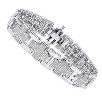 Luxurman Mens Diamond Bracelets 14K Gold Cross Bracelet 3ct