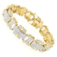 Luxurman Mens Diamond Bracelet Jewelry 10K Gold 3ct