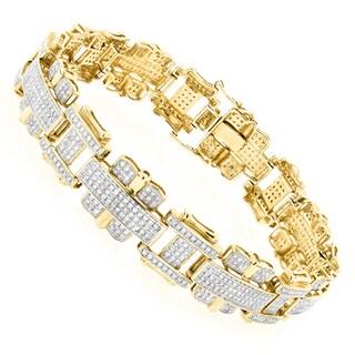 Luxurman Mens Diamond Bracelet Jewelry 10K Gold 3ct