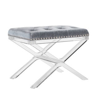 Aimes X Base Silver Vanity Bench with Acrylic Legs