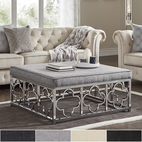 Shop Solene Chrome Quatrefoil Base Square Ottoman Coffee