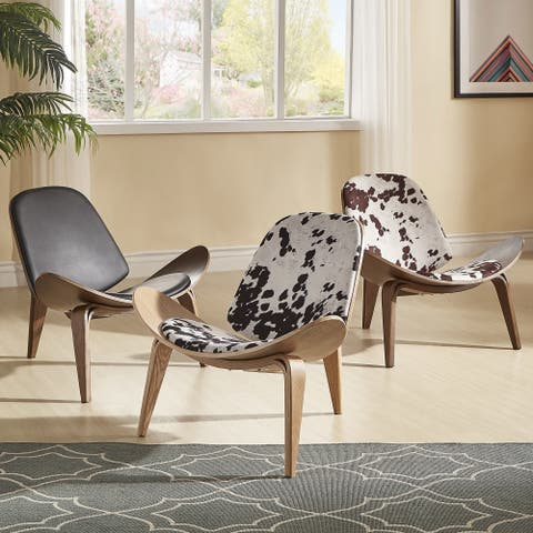 """Pascal Mid-Century Faux Leather Shell Chair by iNSPIRE Q Modern - 7'9"""" x 10'10"""""""