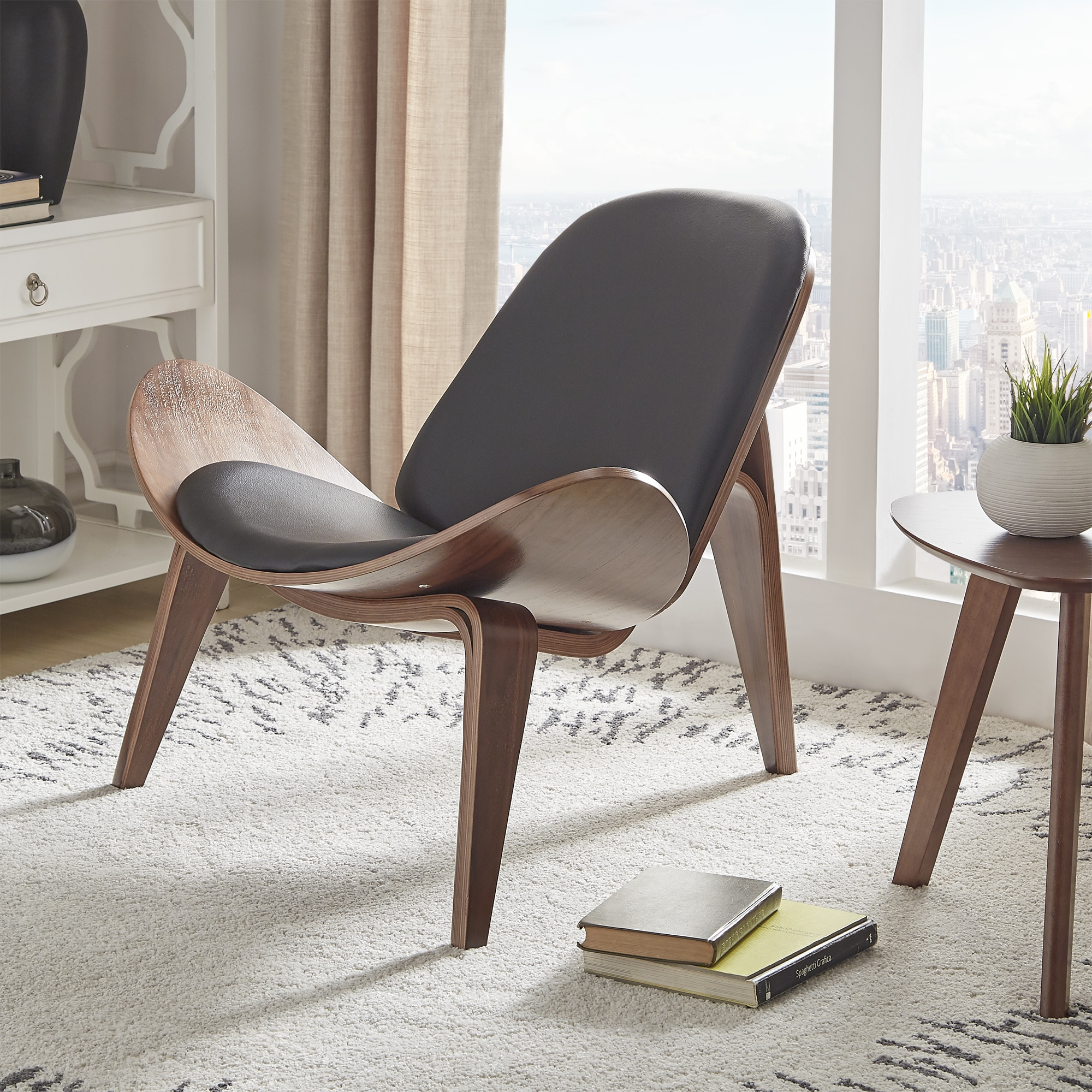 Scandinavian Walnut Retro Modern Shell Accent Chair Small Furniture Office  Home