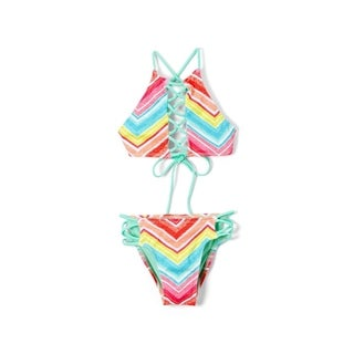 Girl's Chevron Hi Neck Lace Up Top and Strappy Bikini Bottom