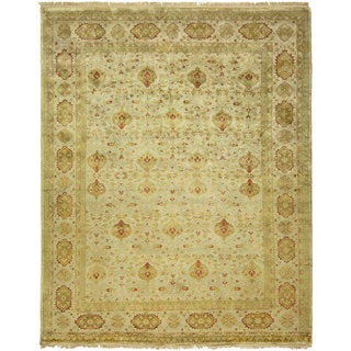 Agra Floral Hand-knotted Green/Ivory New Zealand Wool/Cotton Indoor Rectangular Area Rug (6' x 9')