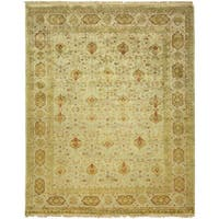 Agra Floral Hand-knotted Green/Ivory New Zealand Wool/Cotton Indoor Rectangular Area Rug (6' x 9') - 6' x 9'