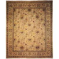 Agra Floral Hand-knotted Beige/Ivory New Zealand Wool/Cotton Indoor Rectangular Area Rug (6' x 9') - 6' x 9'
