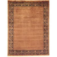 Agra Sand/Black Hand-knotted Wool Area Rug (6' x 9')