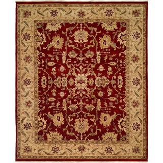 Traditional Red & Ivory Hand-Knotted Wool Area Rug (6' x 9')