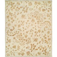 Carol Bolton Alabaster Cream Wool Leaf Hand-knotted Area Rug (4' x 6')