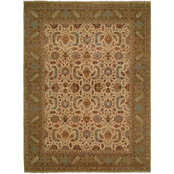 Carol Bolton Ivory/Gold Hand-Knotted Area Rug (2' x 3') - 2' X 3'