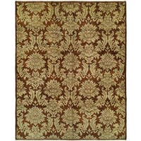 Carol Bolton Ivory/Green Wool/Cotton Hand-knotted Area Rug (4' x 6')