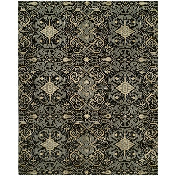 Gramercy Mahagony Grey Wool and Silkette Hand-knotted Area Rug (8' x 10') - 8' x 10'