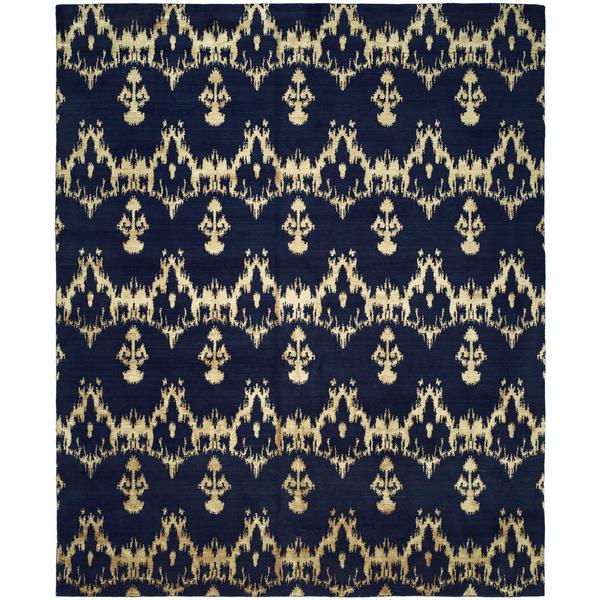 Gramercy Midnight/Blue Wool Blend Hand-knotted Area Rug (10' x 14')