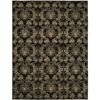 Gramercy Midnight Black/Gold Wool Blend Hand-knotted Area Rug (10' x 14') - 10' x 14'
