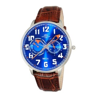 "Oniss Mens ""MECA"" Sporty Stainless Steel & Leather Watch-Silver tone/Blue orange dial"