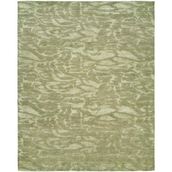 Gramercy Moonstone Ivory Wool/Viscose Hand-knotted Area Rug (9' x 12')